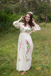 """Button me down"" kaftan in Climbing Vines pattern"