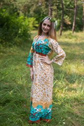 """Button me down"" kaftan in Falling Leaves pattern"