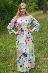 """Button me down"" kaftan in Flamingo Watercolor pattern"