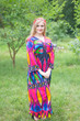 """Button me down"" kaftan in Glowing Flame pattern"