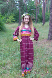 """Button me down"" kaftan in Multicolored Stripes pattern"