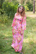 """Button me down"" kaftan in Rosy Red Posy pattern"