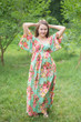 """I wanna Fly"" kaftan in Rosy Red Posy pattern"