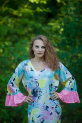 """Frill lovers"" kaftan in Flamingo Watercolor pattern"