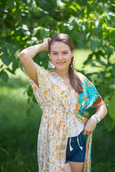 """Beach Days"" kaftan in Falling Leaves pattern"