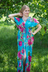 """Beach Days"" kaftan in Large Fuchsia Floral Blossom pattern"