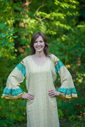 """Frill lovers"" kaftan in Geometric Chevron pattern"