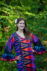 """Frill lovers"" kaftan in Glowing Flame pattern"