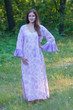 """Frill lovers"" kaftan in Ombre Fading Leaves pattern"