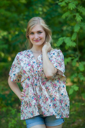 """Timeless"" kaftan Top in Vintage Chic Floral pattern"