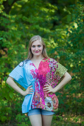 """Timeless"" kaftan Top in Vibrant Foliage pattern"