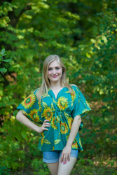 """Timeless"" kaftan Top in Sunflower Sweet pattern"