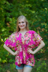 """Timeless"" kaftan Top in Rosy Red Posy pattern"