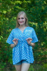 """Timeless"" kaftan Top in Polka Dots pattern"