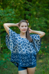 """Summer Celebration"" kaftan Top in Chevron Dots pattern"