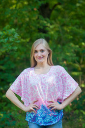 """Summer Celebration"" kaftan Top in Falling Leaves pattern"
