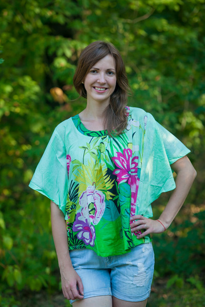 """Summer Celebration"" kaftan Top in Jungle of Flowers pattern"