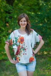 """Summer Celebration"" kaftan Top in Large Floral Blossom pattern"