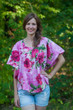 """Summer Celebration"" kaftan Top in Large Fuchsia Floral Blossom pattern"
