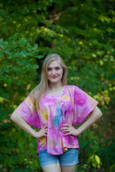 """Summer Celebration"" kaftan Top in Watercolor Splash pattern"