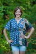 """Timeless"" kaftan Top in Floral Bordered pattern"
