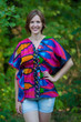 """Timeless"" kaftan Top in Glowing Flame pattern"