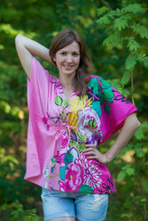 """Timeless"" kaftan Top in Jungle of Flowers pattern"