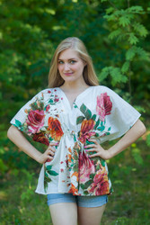 """Timeless"" kaftan Top in Large Floral Blossom pattern"
