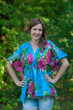 """""""Timeless"""" kaftan Top in Large Fuchsia Floral Blossom pattern"""