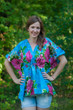 """Timeless"" kaftan Top in Large Fuchsia Floral Blossom pattern"