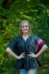 """Timeless"" kaftan Top in Multicolored Stripes pattern"