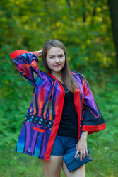 """Street Style"" Kimono jacket in Glowing Flame pattern"