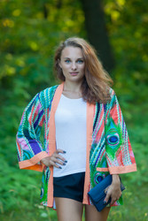 """Street Style"" Kimono jacket in Peacock Plumage pattern"