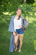 """Boho-Chic"" Kimono jacket in Floral Bordered pattern"