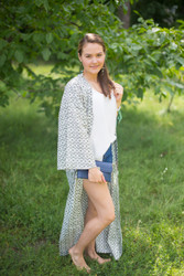 """Boho-Chic"" Kimono jacket in Geometric Chevron pattern"