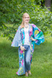 """Boho-Chic"" Kimono jacket in Jungle of Flowers pattern"