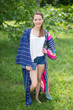 """Boho-Chic"" Kimono jacket in Multicolored Stripes pattern"