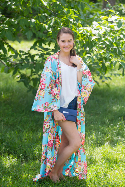 """Boho-Chic"" Kimono jacket in Rosy Red Posy pattern"