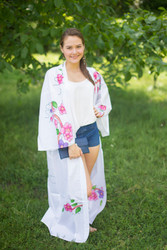 """Boho-Chic"" Kimono jacket in Swirly Floral Vine pattern"
