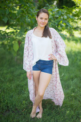 """Boho-Chic"" Kimono jacket in Tiny Blossoms pattern"