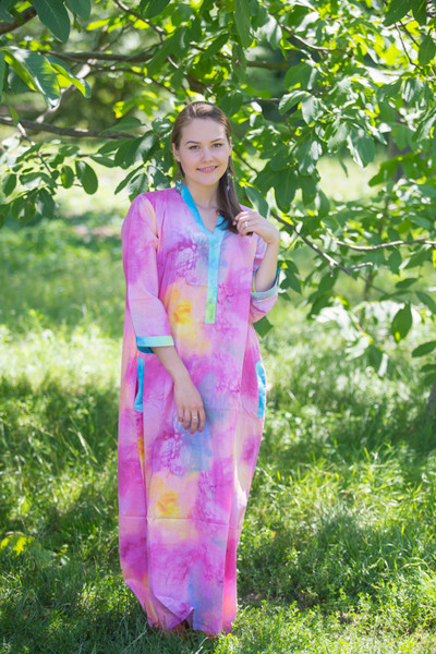 """Simply Elegant"" kaftan in Watercolor Splash pattern"