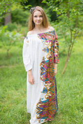 """Serene Strapless"" kaftan in Cheerful Paisleys pattern"