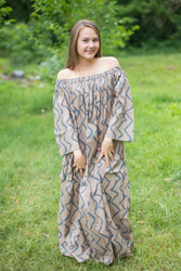 """Serene Strapless"" kaftan in Chevron pattern"