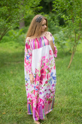 """Serene Strapless"" kaftan in Floral Watercolor Painting pattern"