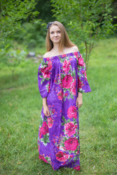 """Serene Strapless"" kaftan in Floral Large Fuchsia Floral Blossom pattern"