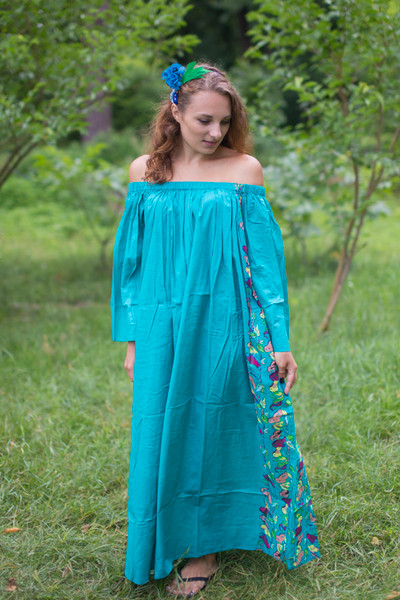 """Serene Strapless"" kaftan in Floral Little Chirpies pattern"