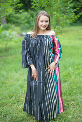 """Serene Strapless"" kaftan in Floral Multicolored Stripes pattern"