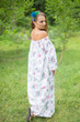 """Serene Strapless"" kaftan in Floral Romantic Florals pattern"