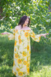 """Serene Strapless"" kaftan in Floral Sunflower Sweet pattern"