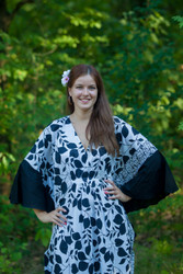 """Ballerina"" kaftan in Classic White Black pattern"